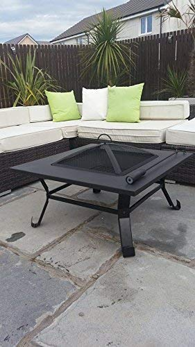 Garden Mile Black Powder Coated Metal Large Outdoor Garden BBQ Fire - Large outdoor fire pit table