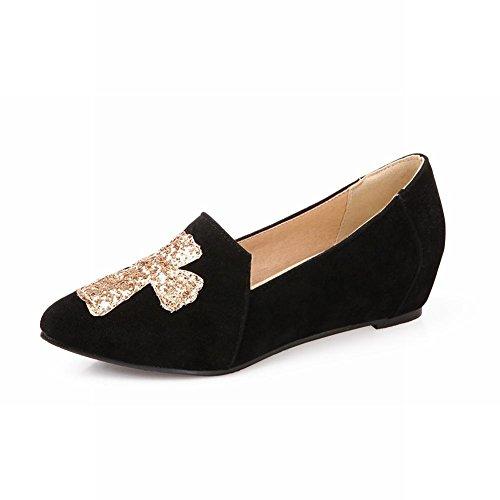 Carol Shoes Casual Womens Sequins Shiny Cross Pattern Fashion Hidden Heel Flats Shoes Black gXjeg