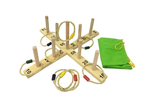Stick And Hoop (Heemika Jumbo Wooden Ring Toss Hoop La Game indoor Outdoor Games Kids Adults Fun Quoits set Toys For Boys Girls - Include 2 Wooden Base Pieces,9 Wooden Sticks ,9 Rope Rings and Carry Bag)