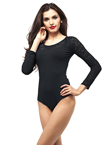 Sweet Heart floral lace long sleeve leotard one piece Plus Size