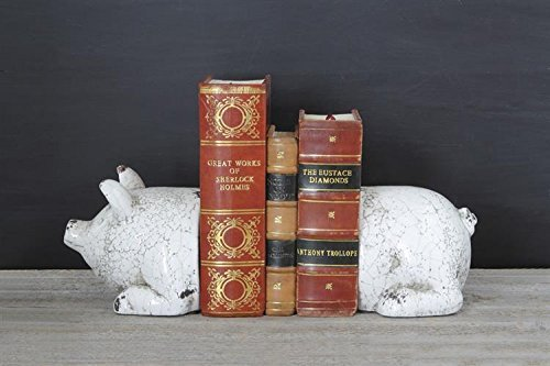 (Terra Cotta Pig Bookends Set Of 2 Antique White Crackled Finish Country Home Library D)