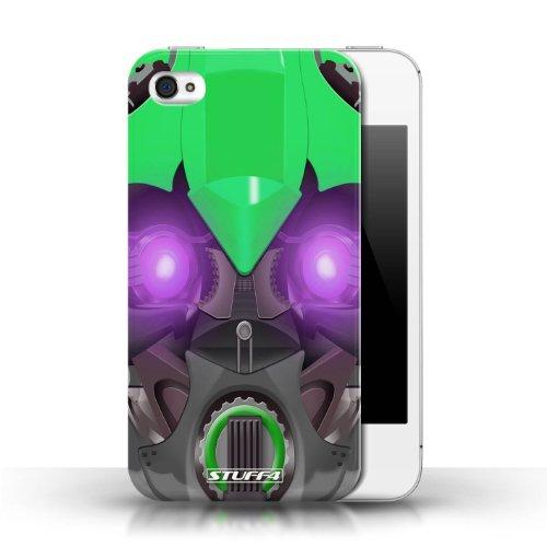 iCHOOSE Print Motif Coque de protection Case / Plastique manchon de telephone Coque pour Apple iPhone 4/4S / Collection Robots / Bumble-Bot Vert