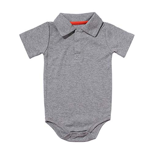 Baby Boy Cotton Onesie Long Sleeve Polo Shirt One Piece Bodysuit Toddler Solid Outfit by Jianekolaa Gray