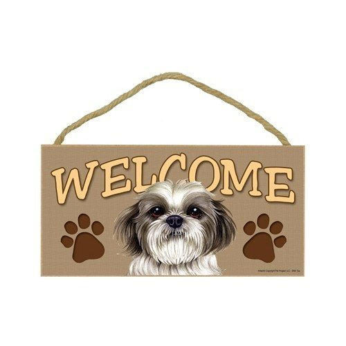 Shih Tzu (Puppy Cut / Short Hair Cut) Welcome Rustic Wood Sign Plaque Home Sign Decor Wall Plaque