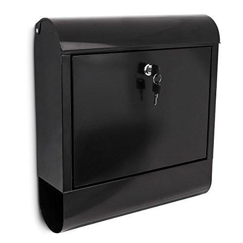 Relaxdays Briefkasten schwarz mit Zeitungsfach Wandbriefkasten Zeitungskasten Postkasten BxHxT 38 x 41,5 x 12 cm Eisen schwarz dunkel mit Fach für Zeitungen