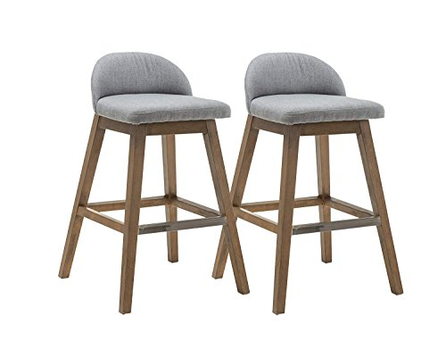 Kmax Patio Bar Height Stools Set, Fabric Accent Counter Height Bar Stools Chair with Back & Wood Legs for Indoors & Outdoors/Counter/Dining Room/Kitchen – Set of 2 (Gray) For Sale