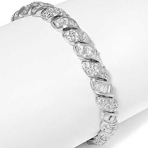 Smjewels Pave and Baguette D/VVS1 Diamond 14K White Gold Plated San Marco Bracelet by Smjewels