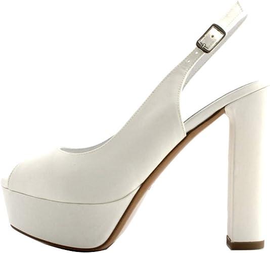Scarpe Sposa Albano Amazon.Albano Sandali Sposa Donna Raso Bianco Modello Chanel Aperto In