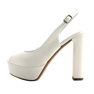 scarpe sportive 6dfcd 64d7e ALBANO Sandali Sposa Donna Raso Bianco, Modello Chanel, Aperto in Punta.  Tacco Cubano da 12cm e Plateau da 3cm. Prodotto Made in Italy.
