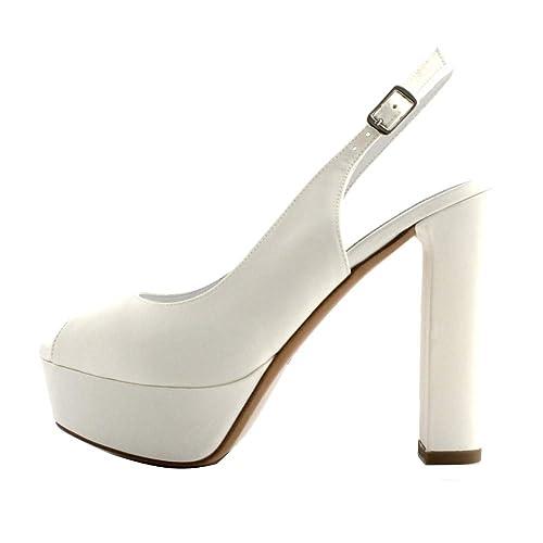 Scarpe Modello Chanel Sposa.Albano Sandali Sposa Donna Raso Bianco Modello Chanel Aperto In