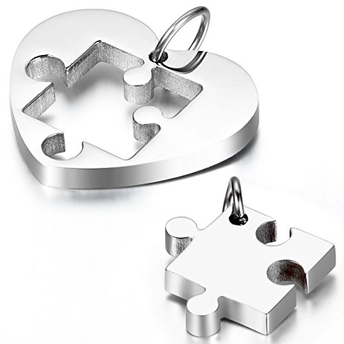 Cupimatch 2-Pieces Couples Necklace Stainless Steel Love Heart Puzzle Matching Pendant with -