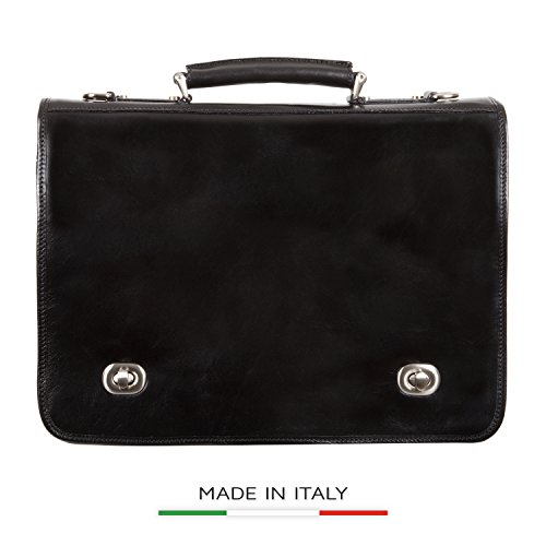 Luggage Depot USA, LLC Men's Alberto Bellucci Italian Leather Double Compartment Laptop Messenger Bag, Black, One Size by Luggage Depot USA, LLC