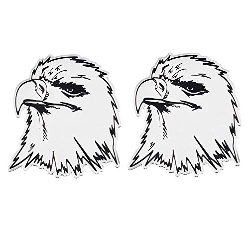 1797 Car Stickers Decals Accessories Eagle US USA America Vehicle Decorations Emblem Bumper Trunk Tailgate Windows Windshield Metal Aluminum Alloy Cute Funny Cool Women Man Silver Black Pack of 2 - Vehicle Decal