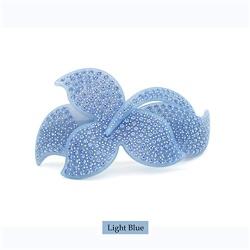 Blue Full Rhinestones Snap - Office Career Flower Big Women Ladies Clip Girls Hair Barrette Cellulose Acetate Hair Pin Full Rhinestones Hair Accessories Prom blue