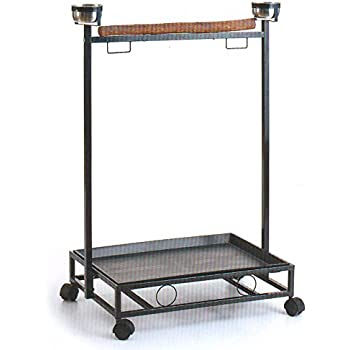 large wrought iron parrot bird play stand play gym play ground rolling stand black vein