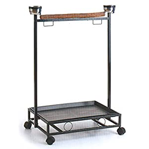 Large Wrought Iron Parrot Bird Play Stand Play Gym Play Ground Rolling Stand *Black Vein* 34