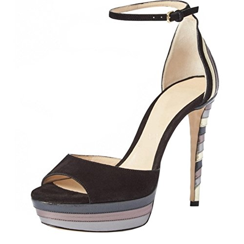 TAOFFEN Mujer Clasico Tacon De Aguja Gladiador Sandalias Tacon Alto Punta Abierta Hueco Verano Zapatos Negro