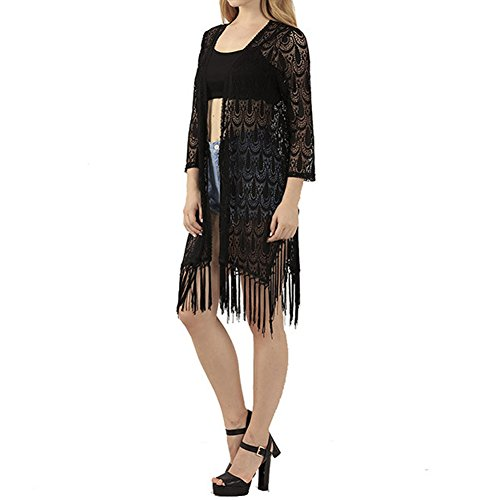 Laixing Buena Calidad Hollow Lace Crochet Tassels Fringed Blouse Jacket Top 9028 Black