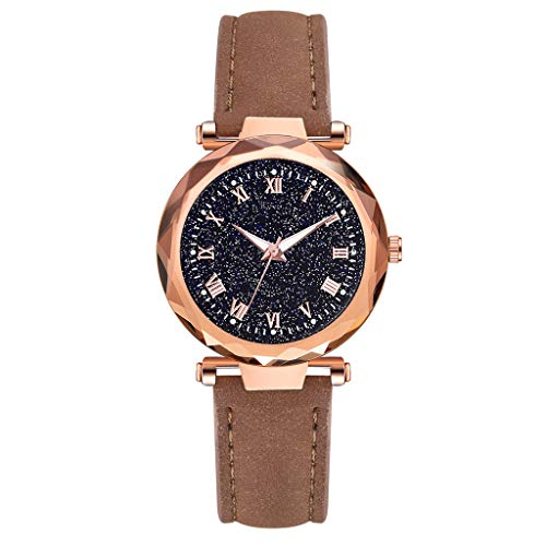 LUCAMORE Womens Luxury Analog Luminous Watches Quartz Wristwatch Starry Sky Dial With Leather Strap Casual Watch Jewelry ()
