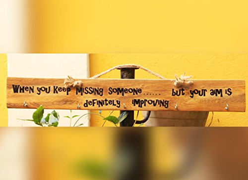 Craftedindia Wooden Multi-Purpose Hanger With Quirky One Liner by CraftedIndia