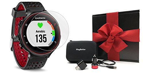 Garmin Forerunner 235 (Marsala) GIFT BOX Bundle | Includes Glass Screen Protectors, PlayBetter USB Car/Wall Adapters, Protective Case, Black Gift Box | GPS Running Watch, Wrist Based Heart Rate