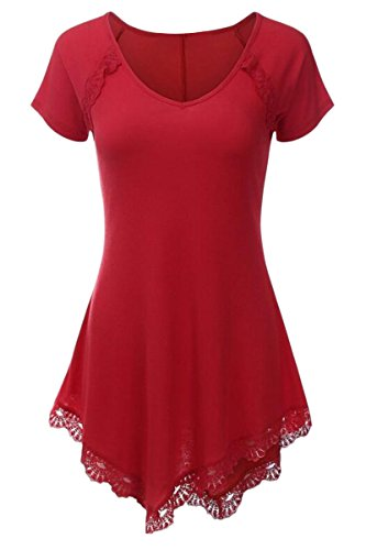 YMING Womens V Neck Short Sleeve Stitching Lace Trim T-Shirt Red S