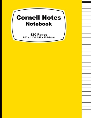 Cornell Notes Notebook: Yellow Cover, Note Taking Notebook, For Students, Writers,school supplies list, Notebook 8.5