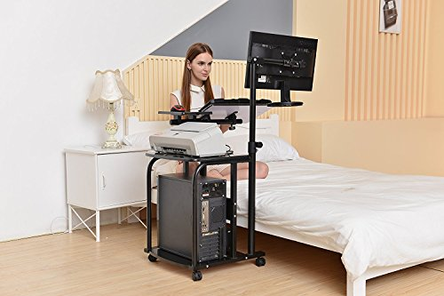 e-Joy Mobile & Compact Computer Cart / Computer Desk PC Laptop Table Workstation Home Office /Student Computer Desk Home Office Wood Laptop Table Study Workstation Dorm/ Computer Desk Cart PC Laptop Table Study Portable Workstation, Black -