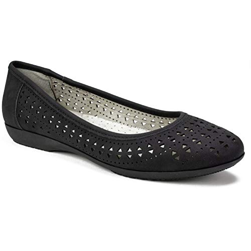 - CLIFFS BY WHITE MOUNTAIN Women's CAILIE Ballet Flat, Black/Nubuck, 6 M US
