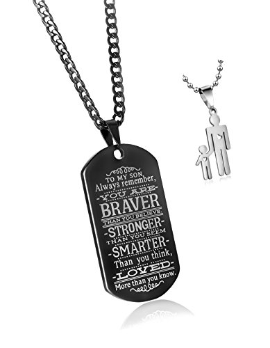 C&L to My Son Always Remember You are Braver Than You Believe Quotes Black Dog Tags Pendant Necklace Love Gift -