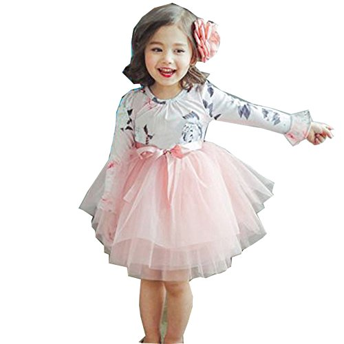 yongy Tutu Princess Casual Dress Printed Puff Long Sleeves For Baby Girl (Pink, (Perfectly Princess Tutu Dress)