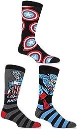 SockShop Men's 3 Pair Marvel Captain America Mix Cotton Socks