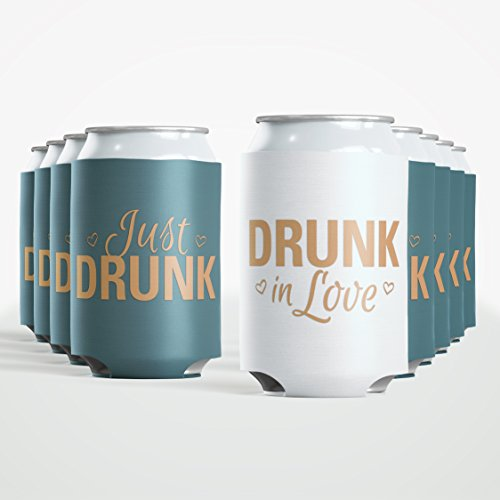 9pc Set Bride Drunk in Love & Just Drunk Favor Drink Wedding Coozies Bachelorette Party Bridal Showers & Weddings - 4mm Bottle Cooler Sleeves aka Can Coozie Full Set aka Beverage Insulators (9pc Set) ()