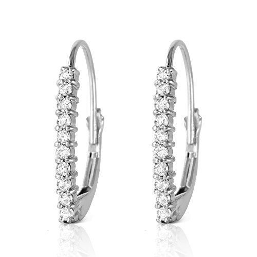 0.3 Carat 14k Solid White Gold Leverback Earrings with Natural Diamonds