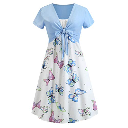 - Zohto Fashion Women Short Sleeve Bow Knot Bandage Top Butterfly Print Dress Suits