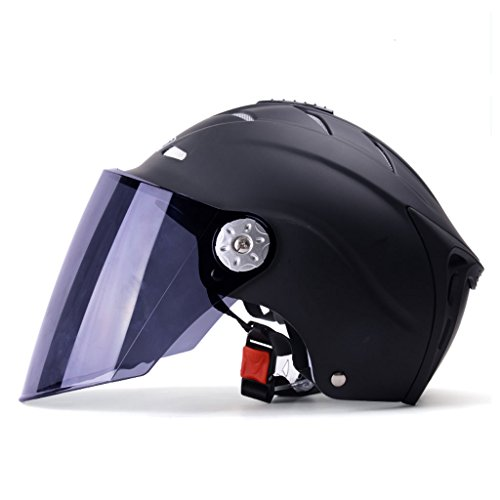 Helmet Male Summer Motorcycle Female UV Protection Lightweight Bicycle Safety Helmet Electric Cars Matte Black (Color : Tea black color) by Moolo