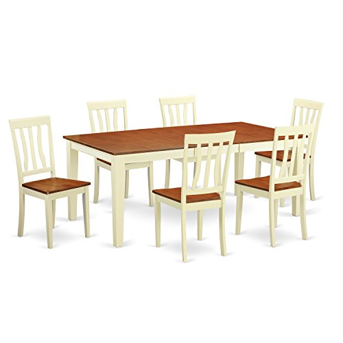 QUAN7-WHI-W 7 PC dinette set -Kitchen Table and 6 Dining Chairs