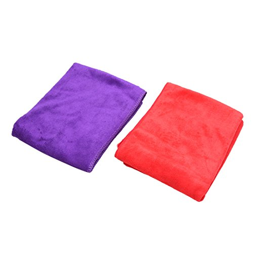 uxcell 2Pcs Red Purple 65 x 33cm Absorbent Microfiber Cleaning Towel Cloth for Car Home by uxcell