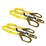 KwikSafety (Charlotte, NC) PYTHON (2 PACK) Double Leg 6ft Tubular Stretch Safety Lanyard | OSHA ANSI Fall Protection EXTERNAL Shock Absorber | Construction Arborist Roofing | Snap Rebar Hook Connector