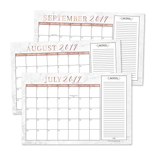 Rose Gold Marble 2019-2020 Large Monthly Desk or Wall Calendar Planner, Big Giant Planning Blotter Pad, 18 Month Academic Desktop, Hanging 2-Year Date Notepad Teacher, Family or Business Office 11x17