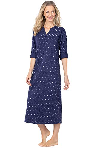 PajamaGram Womens Nightgowns So Soft - Long Nightgowns for Women, Navy, XS, 2-4