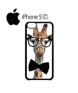 LJF phone case Geek Giraffe Nerd Geek Bow Tie Mobile Cell Phone Case Cover iphone 4/4s Black