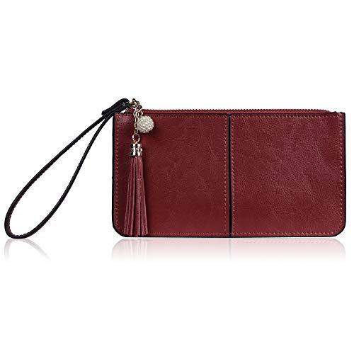 Maroon Phone - Befen Women's Leather Wristlet Clutch Cell Phone Wallet, Multi Card Organizer Wallet Purse (Maroon)