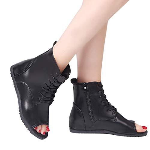 kaifongfu Women's Flat Platform Shoes with Round-Toe Non-Slip Sandals Shoes(Black,38)