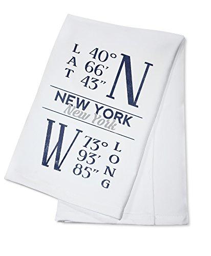 New York, New York - Latitude and Longitude (Blue) (100% Cotton Kitchen Towel) (Latitude And Longitude Of New York Usa)