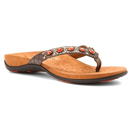 Vionic Womens 340 Floriana Synthetic Sandals Bronze Croco