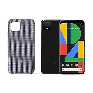 Google GA01187-US Pixel 4 - Just Black - 64GB - Unlocked with Pixel 4 Case, Sorta Smokey, Gray (GA01281)