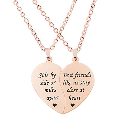 MJartoria Best Friend Necklaces BFF Necklace for 2-Split Valentine Heart Together Forever Never Apart Best Friends Pendant Friendship Necklace Set of 2 Inspirational Gift (Z-Side by Side-Rose Gold)
