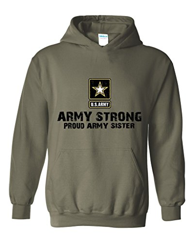 Artix U.S. Army Star Army Strong Proud Army Sister Unisex Hoodie Sweatshirt Large Military Green (Sweatshirt Army Hooded Sister)