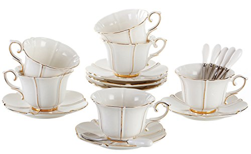 (Jusalpha Porcelain Tea Cup and Saucer Coffee Cup Set with Saucer and Spoon FD-TCS08 (6))